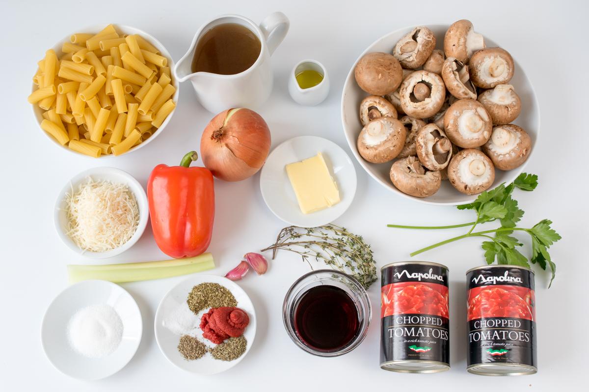 Mushroom ragu with rigatoni step 1