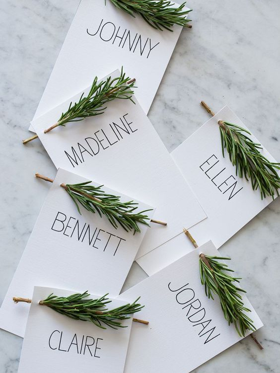 Rosemary sprig diy name tags