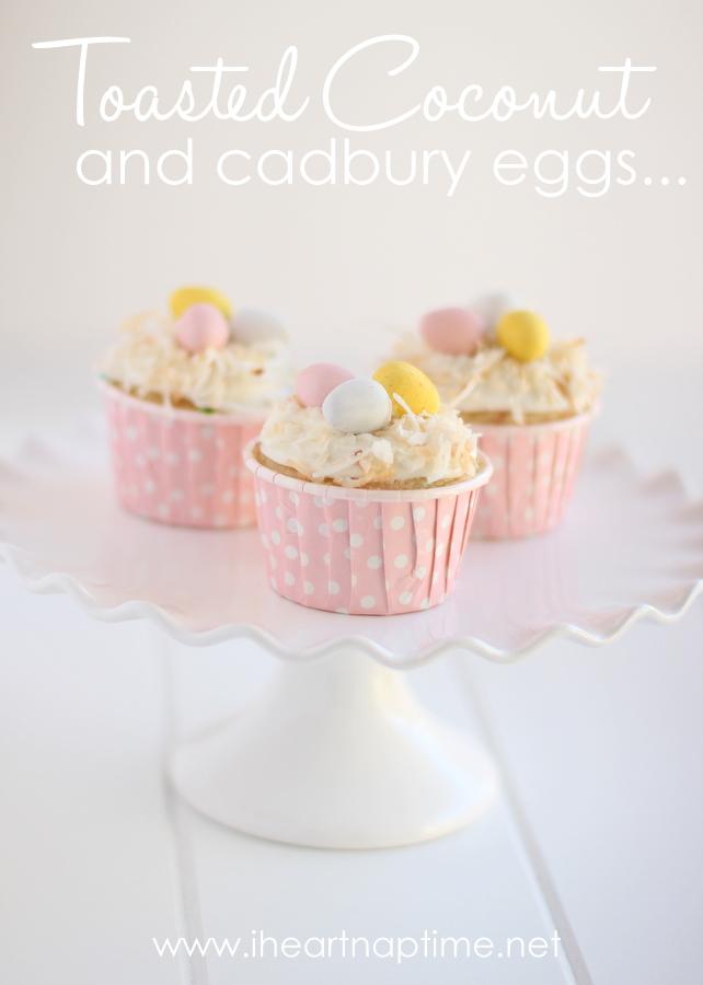 Toasted coconut mini egg cupcakes