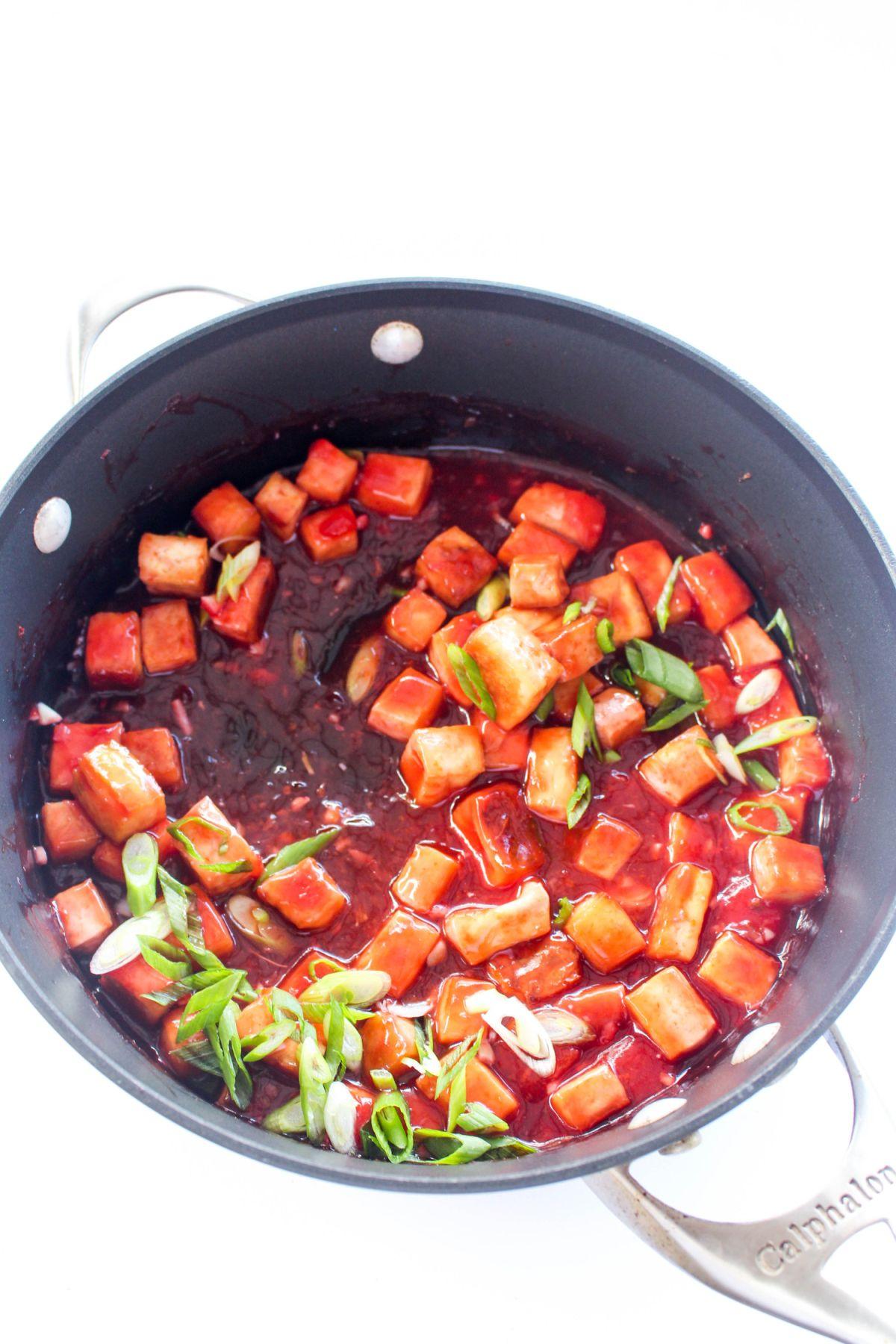 Tofu Rice Bowls with Sweet and Sour Blood Orange Sauce - pot