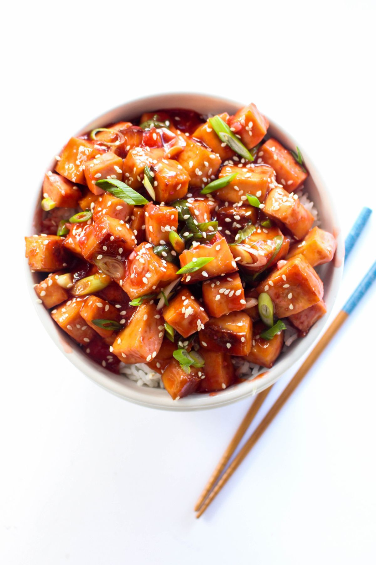 Tofu Rice Bowls with Sweet and Sour Blood Orange Sauce