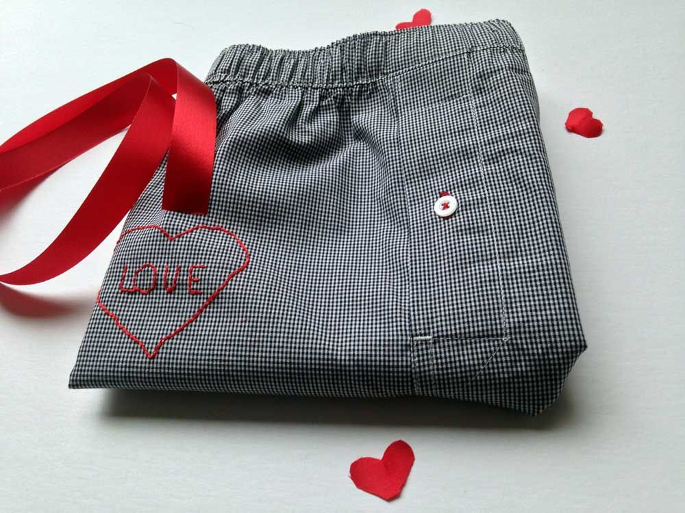 Valentine's Day Embroidered Boxers