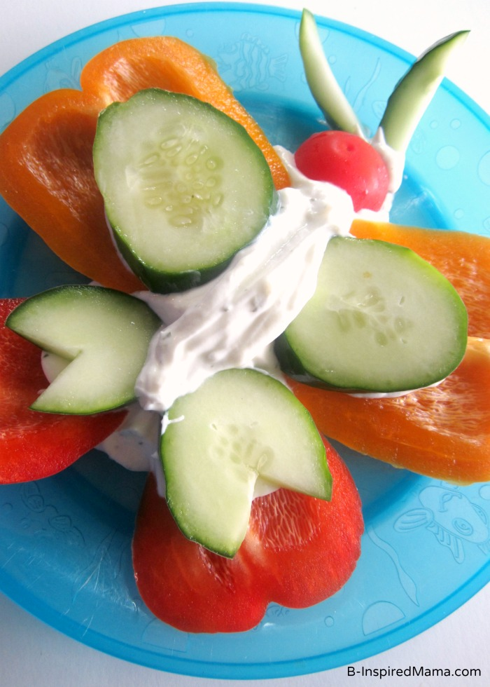 Veggies and dip butterfly