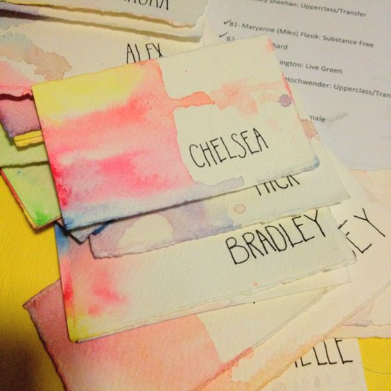 Watercolor name tag diy