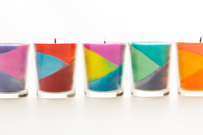 Colour block crayon candles