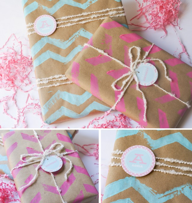 Diy chevron wrapping paper stamp