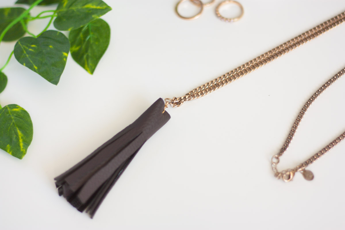 diy leather tassel necklace set2