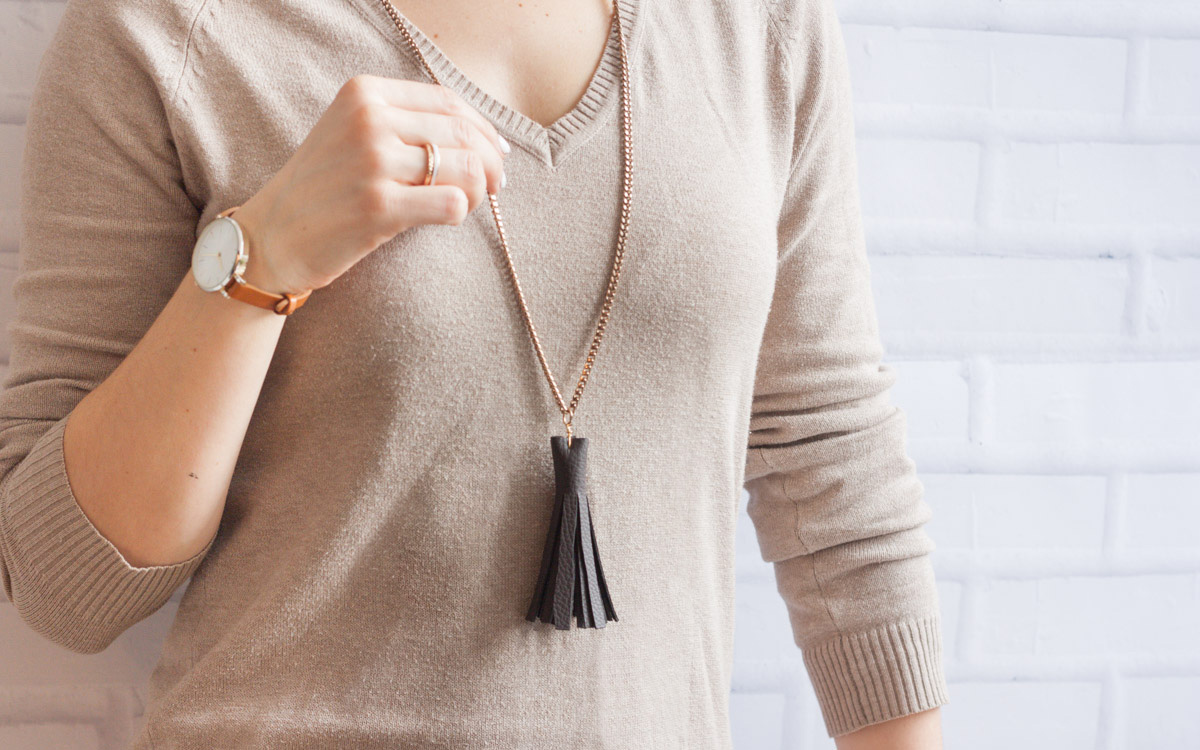 Long Leather Tassel Necklace