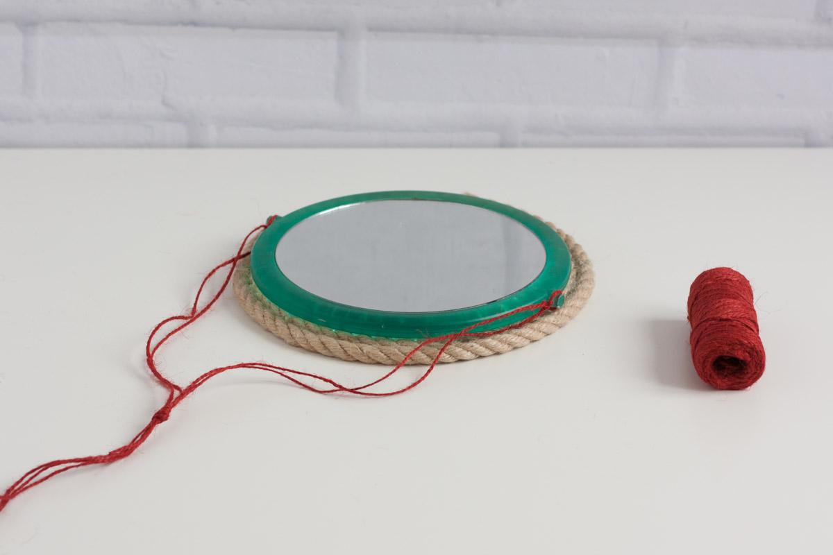 Diy upcycle rope mirror round hang