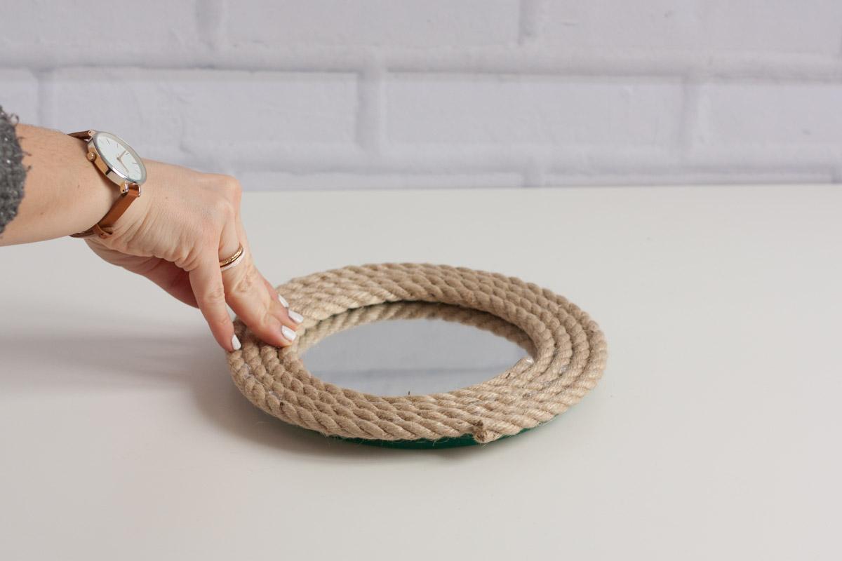 Diy upcycle rope mirror round press