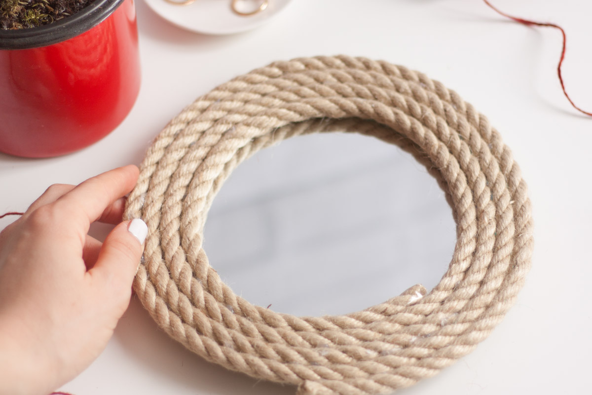 Diy upcycle rope mirror round set 2