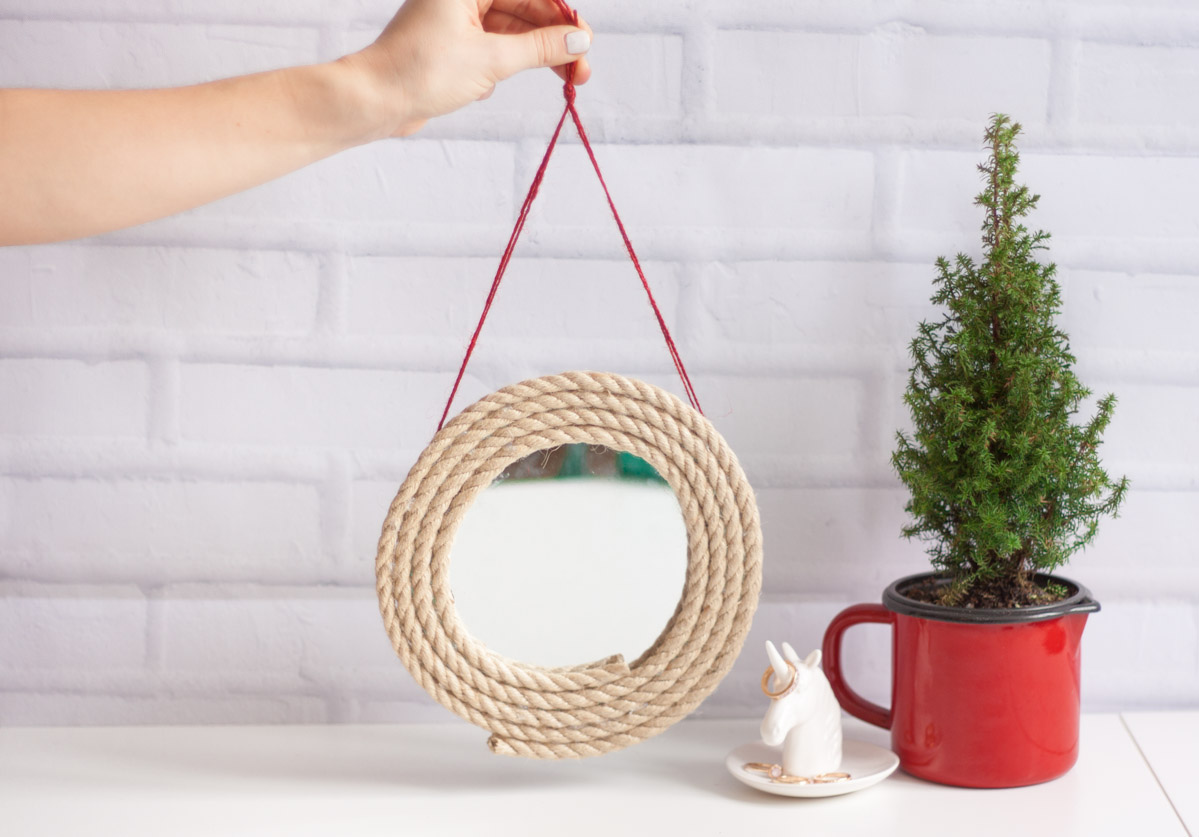 Diy upcycle rope mirror round set 3