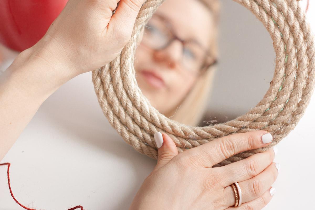 Diy upcycle rope mirror round set
