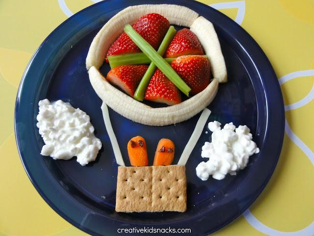 Fruit and veggie hot air balloon