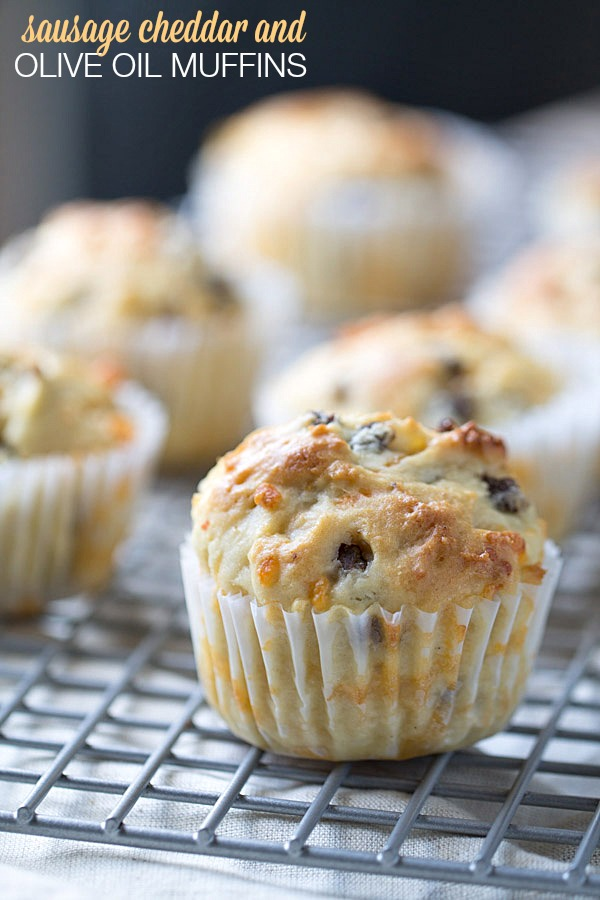 Sausage cheddar olive oil muffin