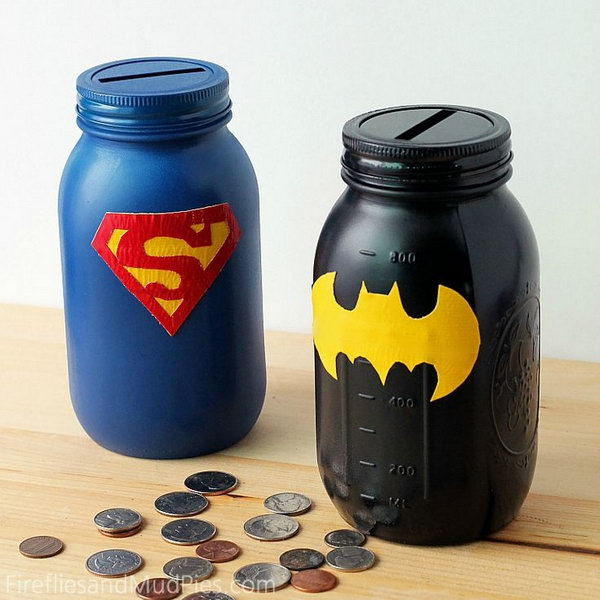 Mason jar superheroes