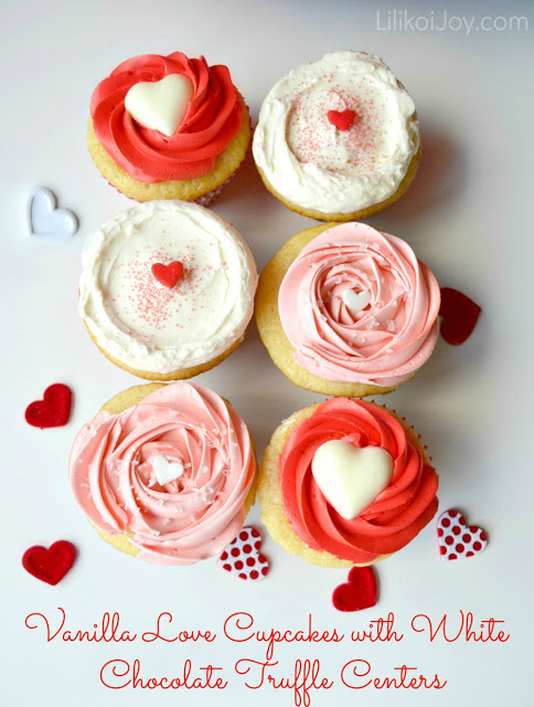 Vanilla love cupcakes with white chocolate truffle centres