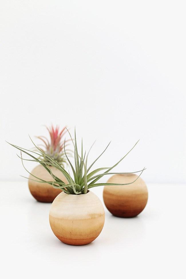 2 diy wooden air plant pots