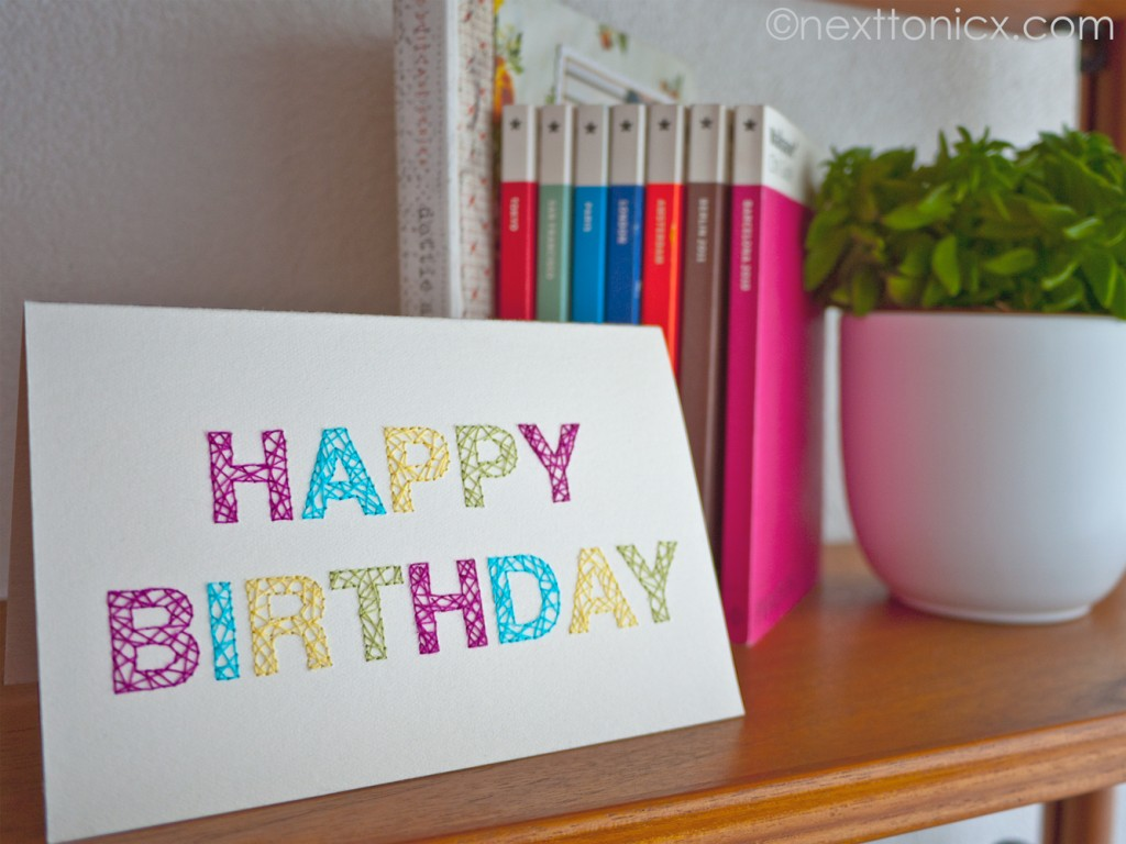 28 embroidered birthday card