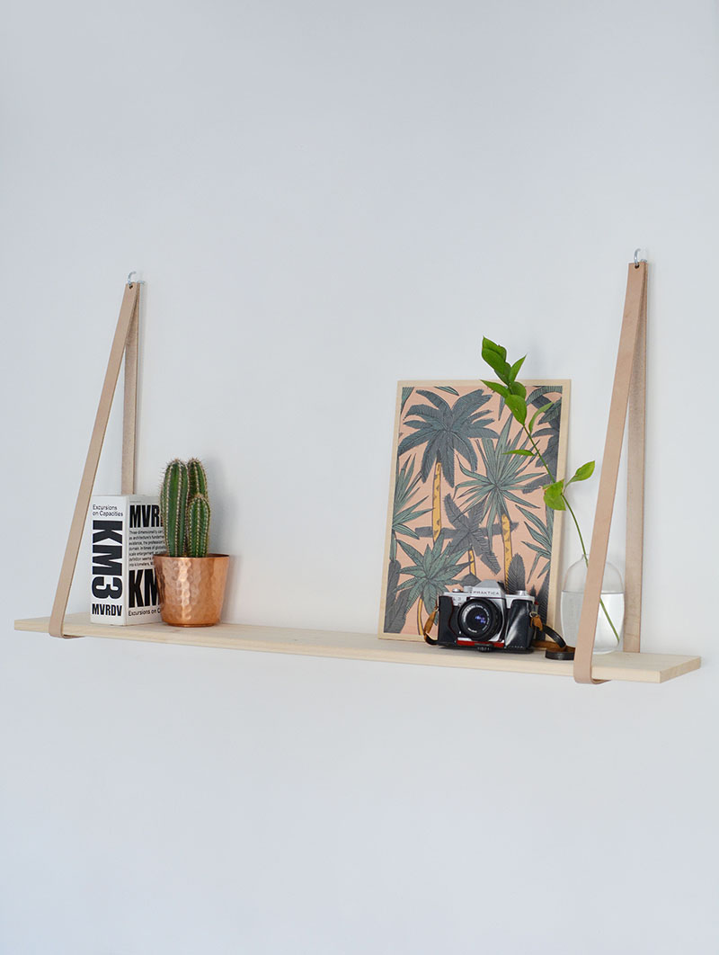 36 scandi inspired leather strap shelf