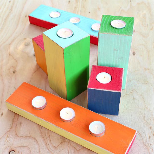 4 diy wood color block candles