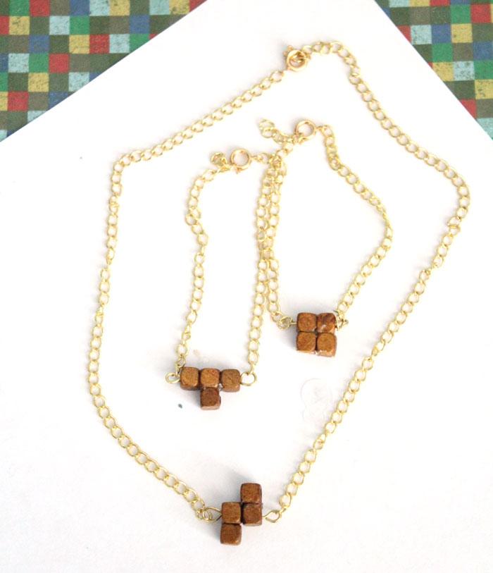 43 tetris inspired wood jewelry