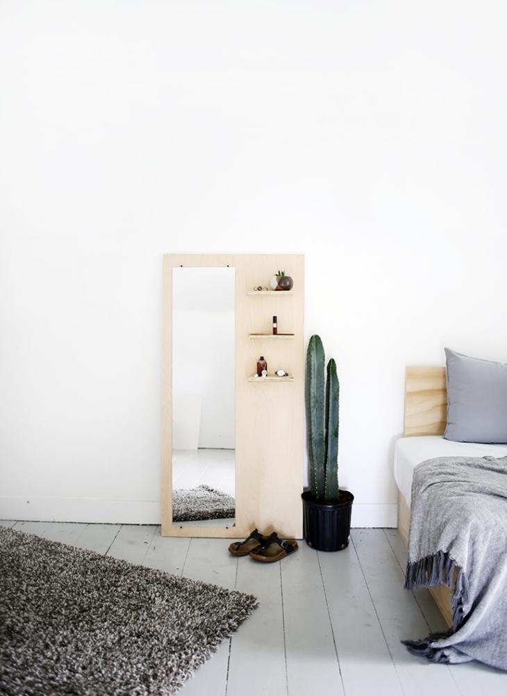 45 wood floor mirror