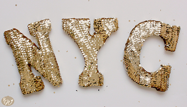 47 gold sequin letters