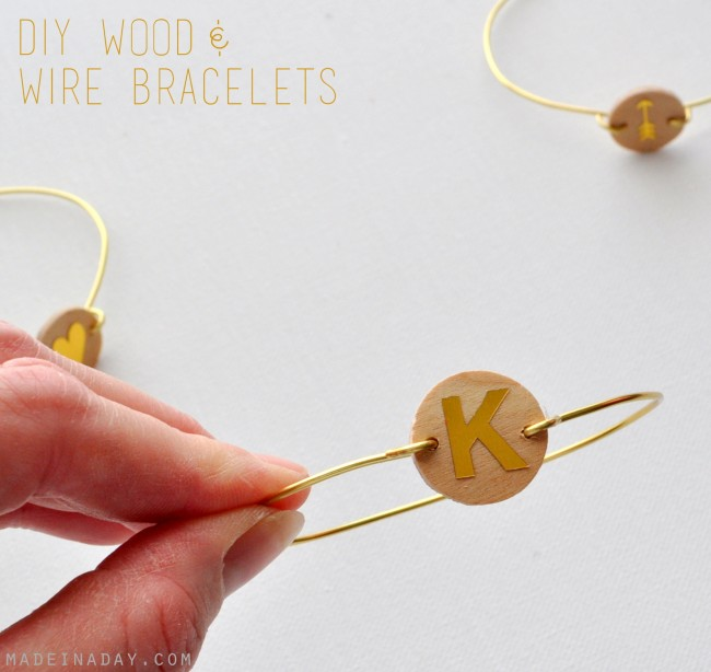 50 diy monogram wood wire bracelet madeinaday com 650x614