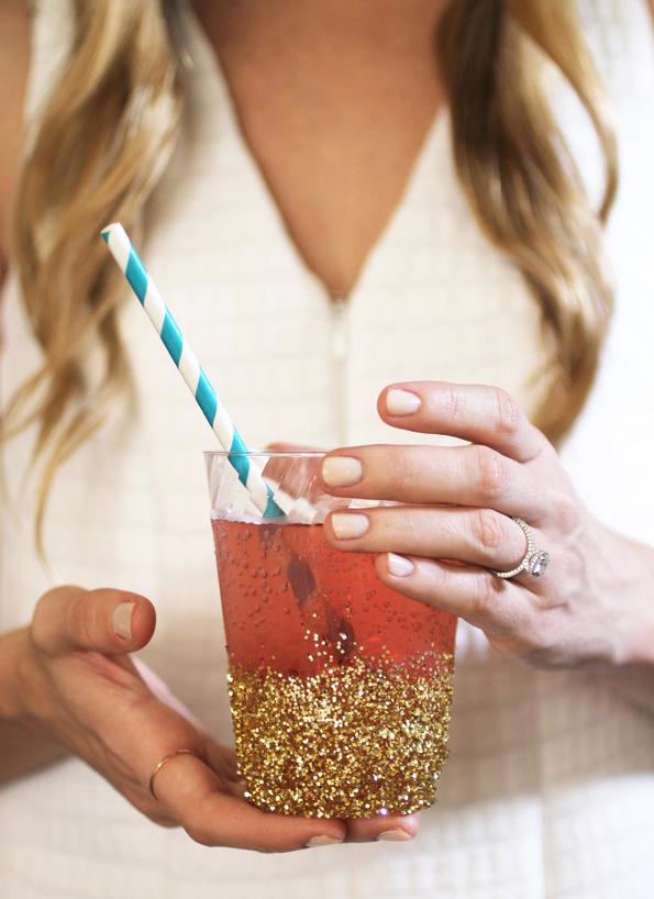 7 diy glitter dipped cups