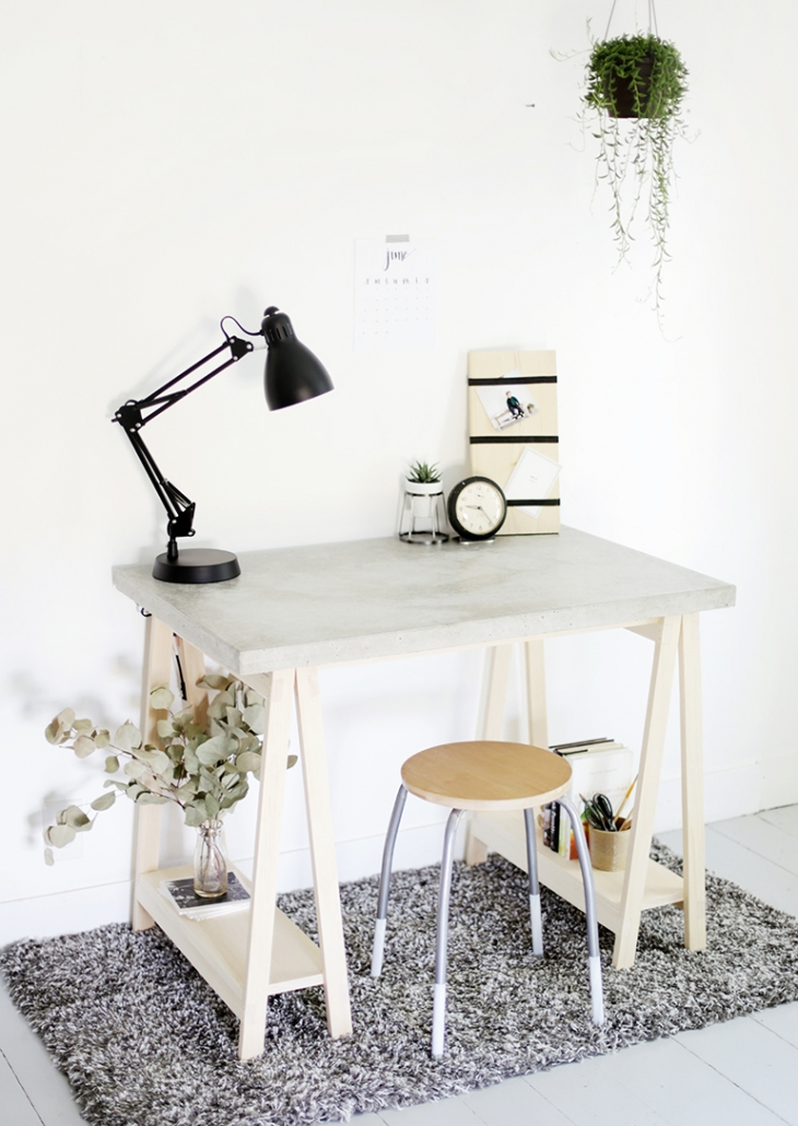 8 diy concrete desk