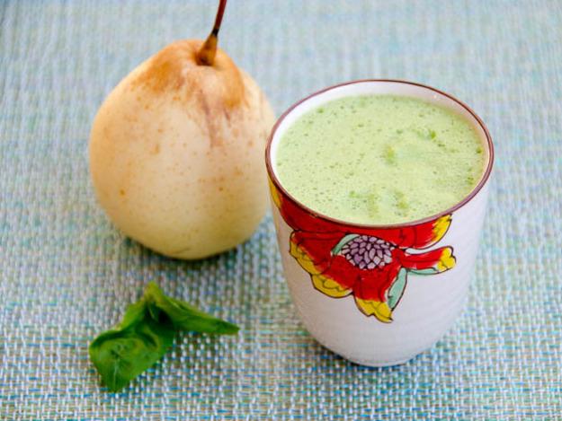 Asian pear, basil, and lemon juice