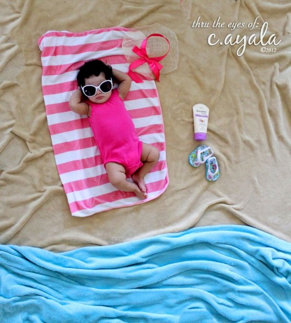 Youll Be Surprised How Far Simple Blankets And Towels Can Take You Baby Will Look Peaceful Stylish Laying By The Seaside
