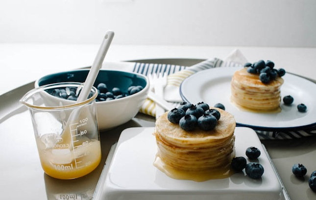 Blueberry lemon mini crepe cake