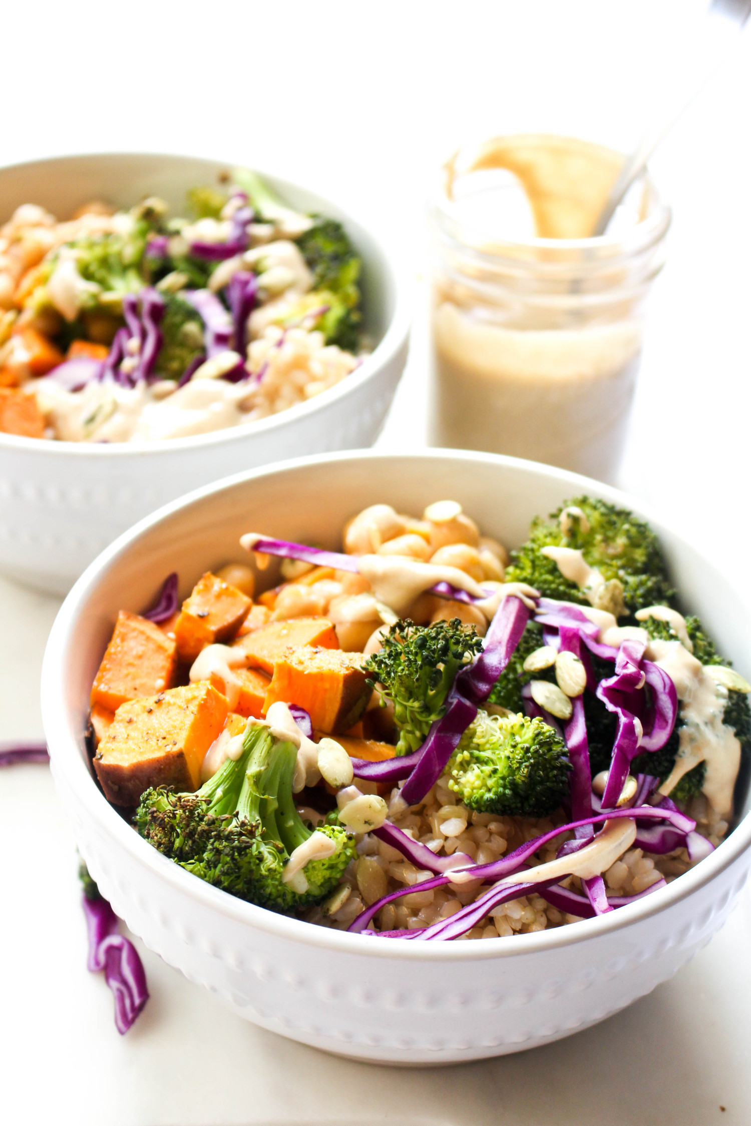 Buddha bowls with ginger tahini dressing food
