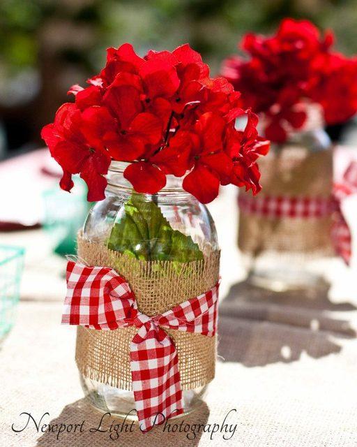 Burlap ribbon mason jars