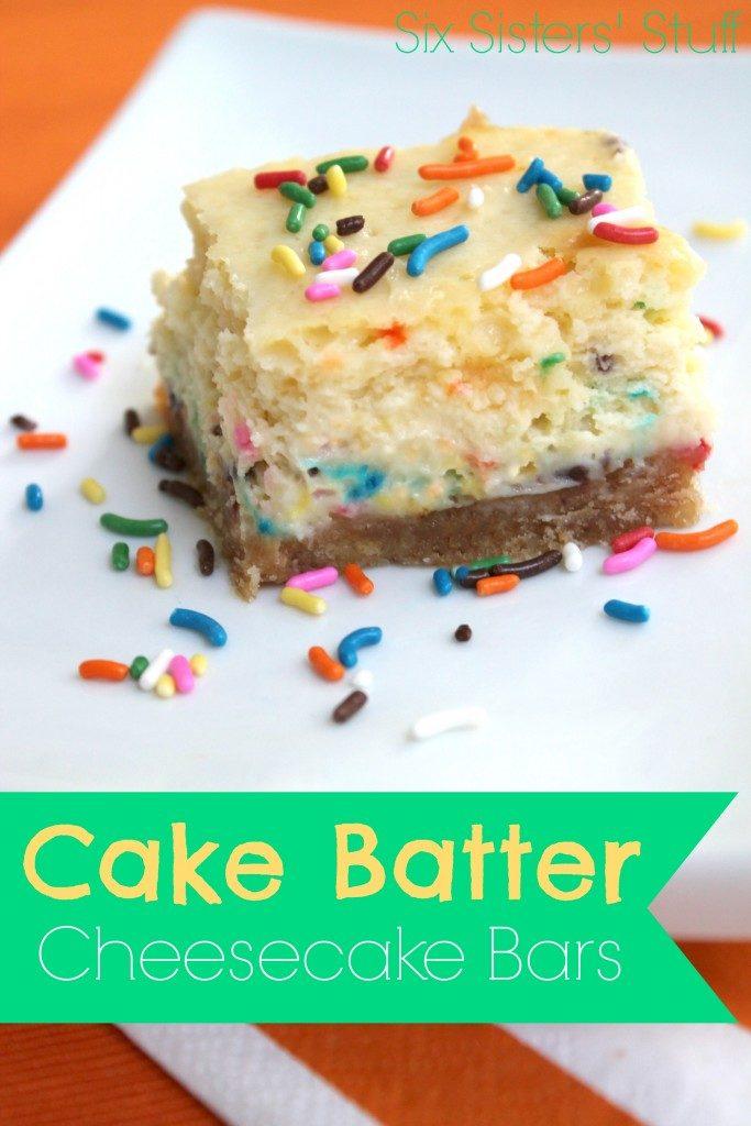 Cake batter cheesecake bars