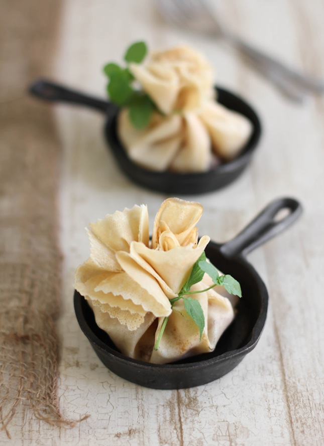 Caramel apple brie crepe parcels