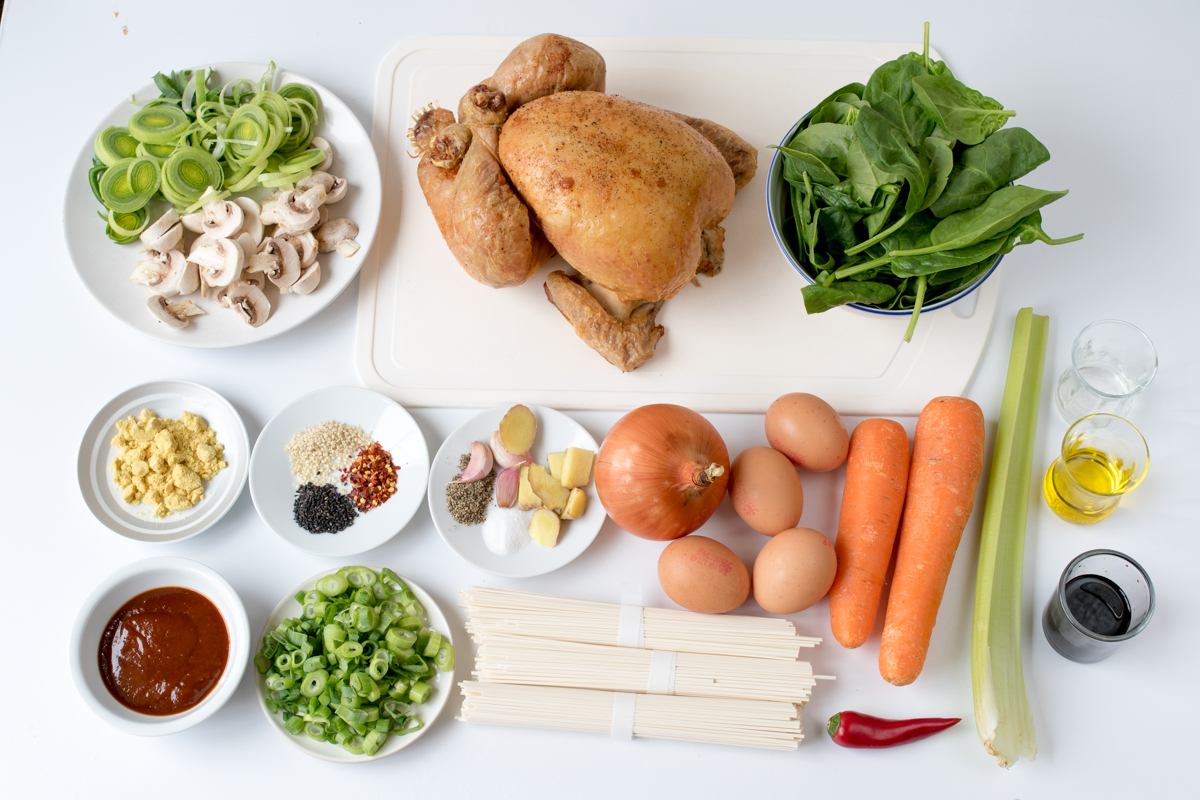 Chicken ramen soup ingredients