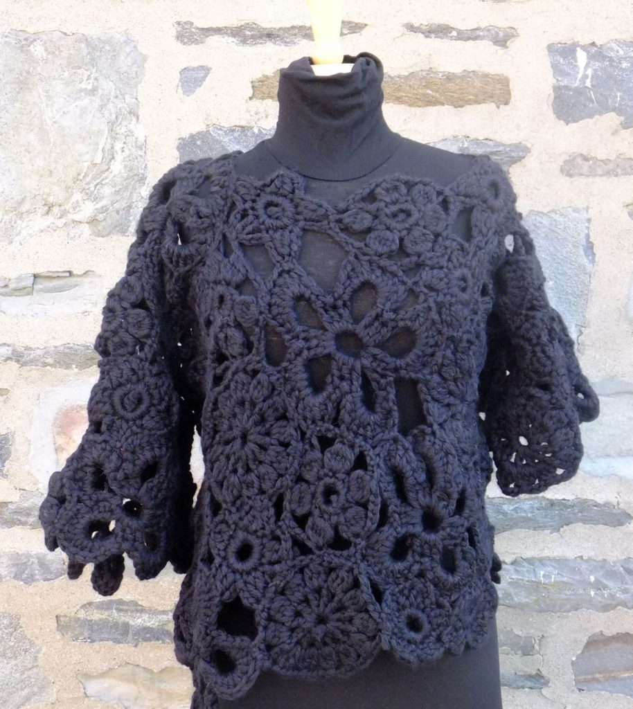 Chunky crocheted lace sweater