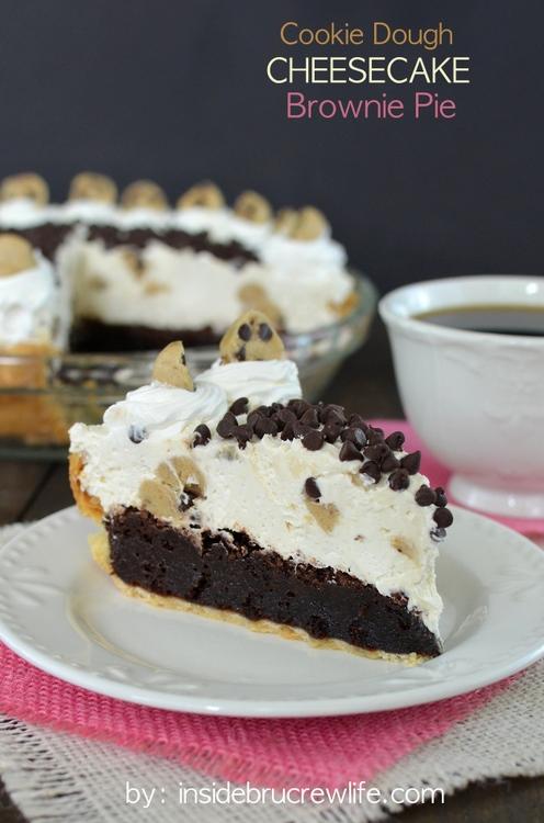 Cookie dough cheesecake brownie pie