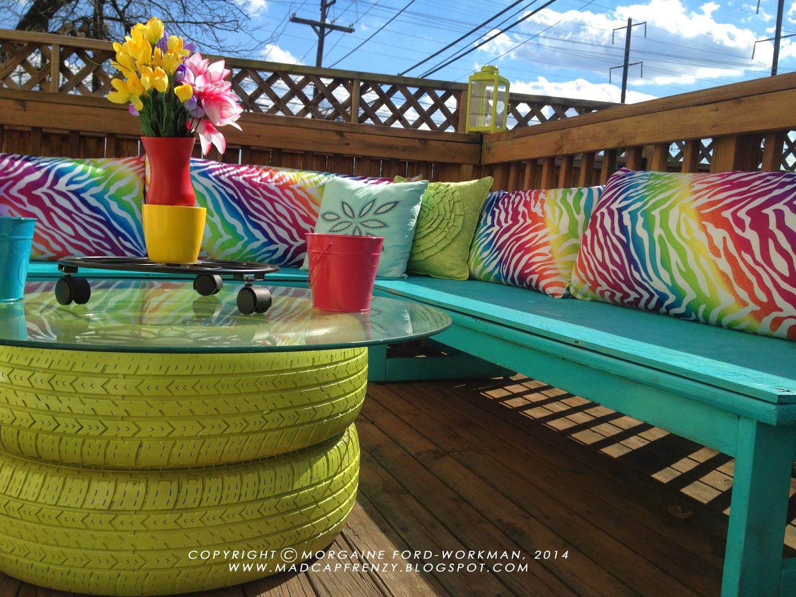Exceptional You Could Always Use Some Old Tired To Create A Patio Coffee Table That  Pops Right As You Walk Into The Backyard. Paint It With Some Bright Colors  And ...