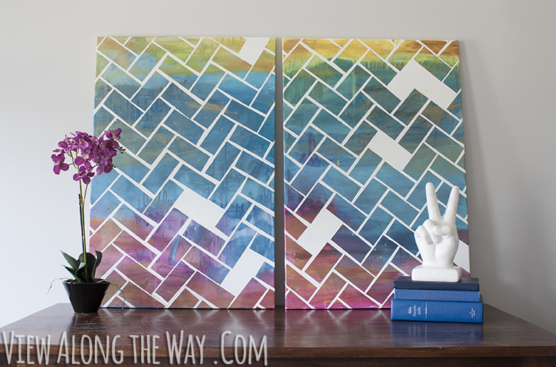 Canvas Craft Ideas For Kids Part - 15: Diy Herringbone Art Project