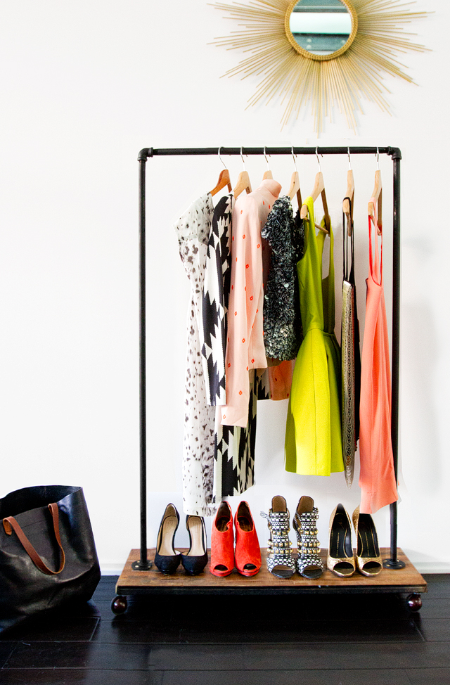 Diy room divider garment rack