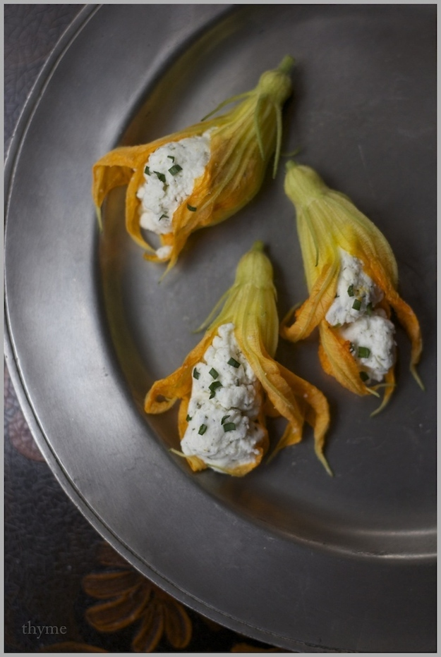 Fried squash blossoms fillled with herbed goat cheese