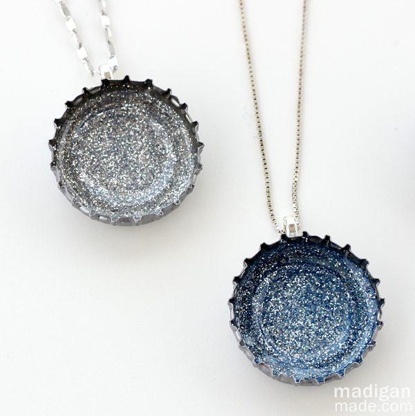 Glitter bottle cap necklaces