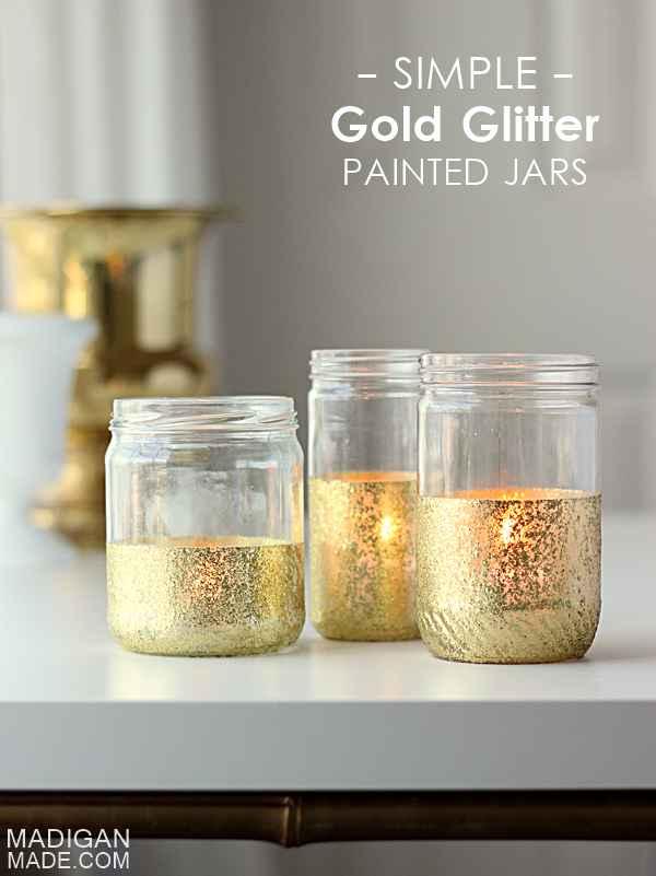 Glitter dipped candle jars