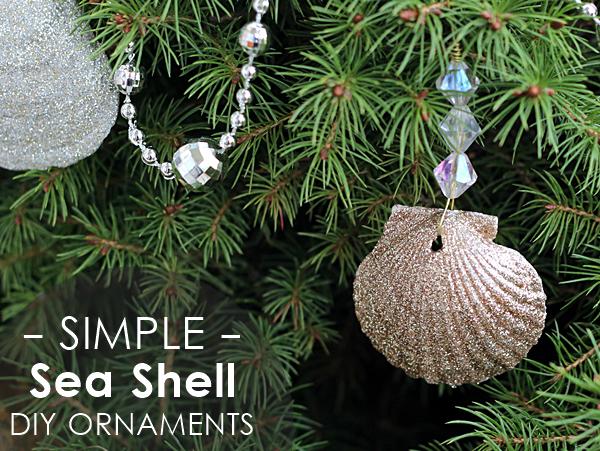 Glitter seashell ornaments