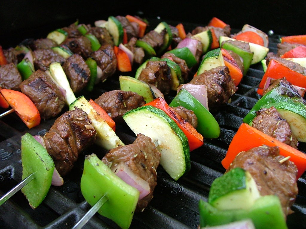 Grilled beef and vegetable skewers