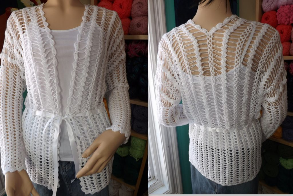 Hairpin lace cardigan